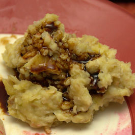 Celeriac-Potato Mash with Beer-Molasses Reduction