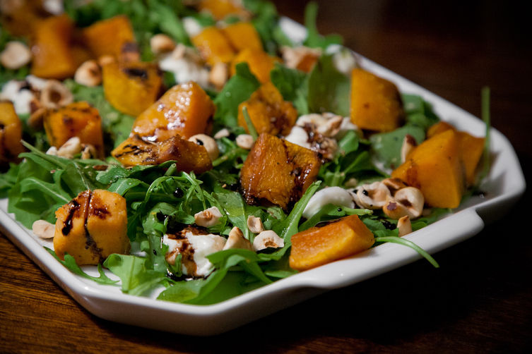 Roasted Squash with Burrata, Hazelnuts and Arugula