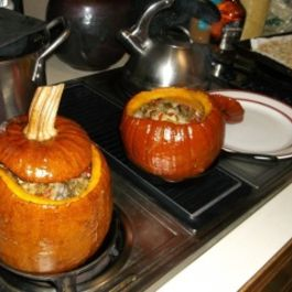 Whole Chicken Cooked in a Pumpkin