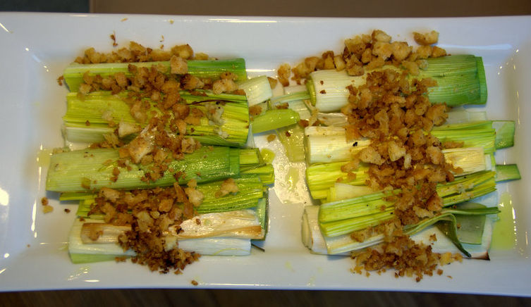 Roasted Leeks with Grapefruit Breadcrumbs