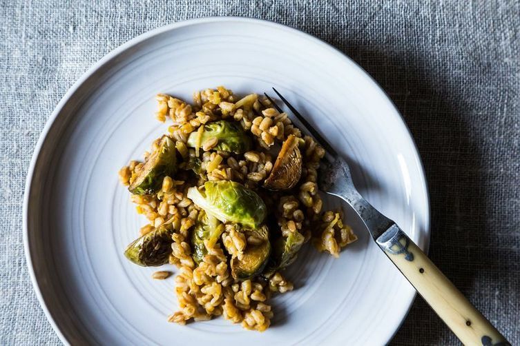 Farro with Leeks and Balsamic Roasted Brussels Sprouts