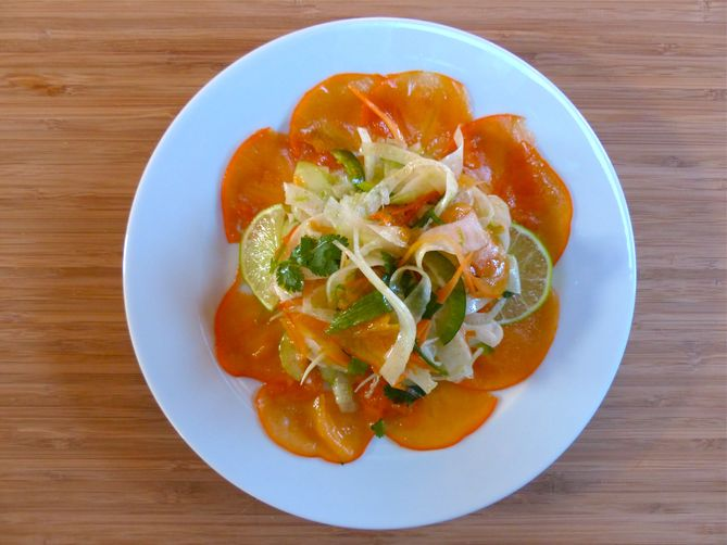 Fennel Slaw with Persimmons and Lime Vinaigrette