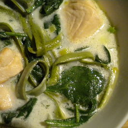 Ya Gotta Eat Your Salmon and Spinach Noodle Soup