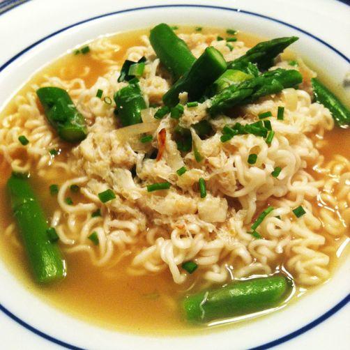 Crab Asparagus Noodle Soup