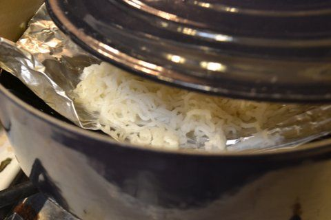 Fresh Home made Rice noodles in a coconut & yogurt sauce
