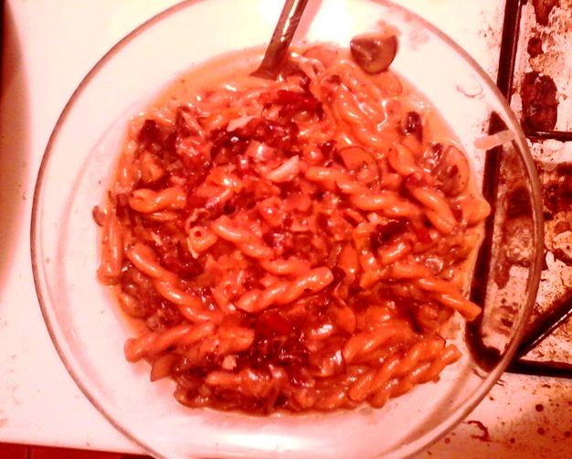 Gemelli Risotto-style with Bacon, Mushrooms, and Cabbage