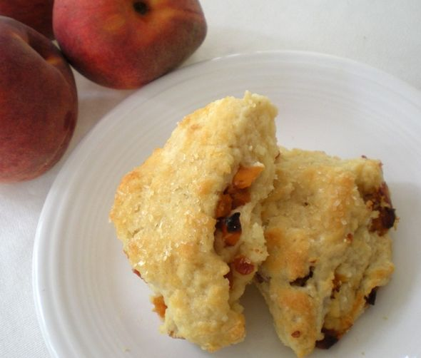 Sweet tea and peach buttermilk scones