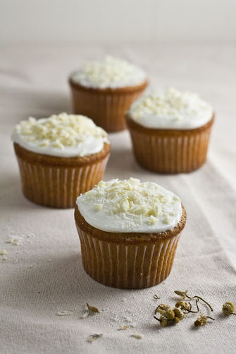 White Chocolate, Honey, and Chamomile Cupcakes