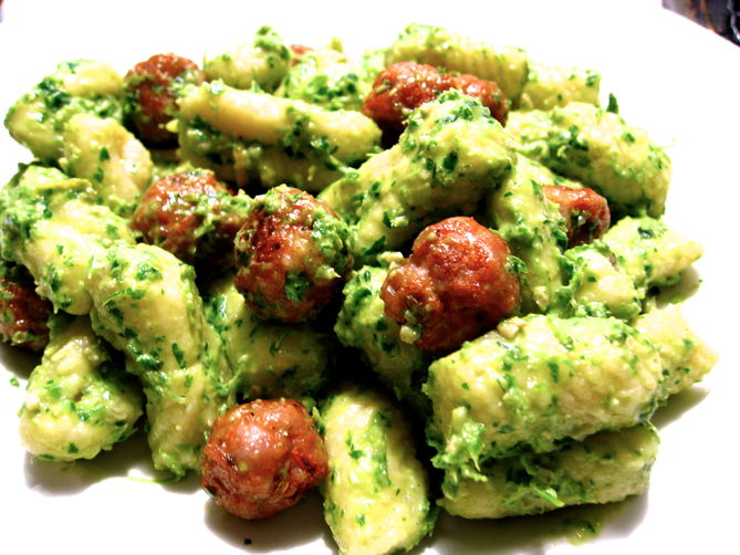 Gnocchi and Tiny Meatballs with Creamy Parsley Pesto
