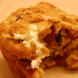 Whole Grain Corn Muffins with Goat Cheese and Cranberries