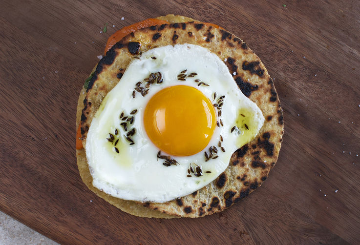 Sweet Potato and Cilantro Quesadilla with Fried Egg + Cumin Oil from Food52