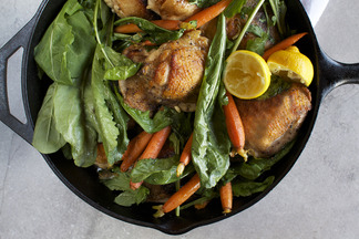 Skillet Roasted Chicken Thighs with Dandelion Greens + Baby Carrots