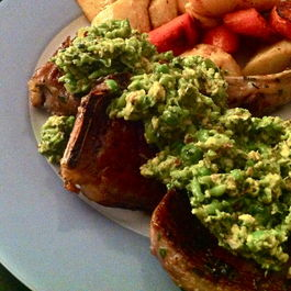 Chunky Sweet Pea, Pistachio, and Mint Pesto with Lamb Rib Chops