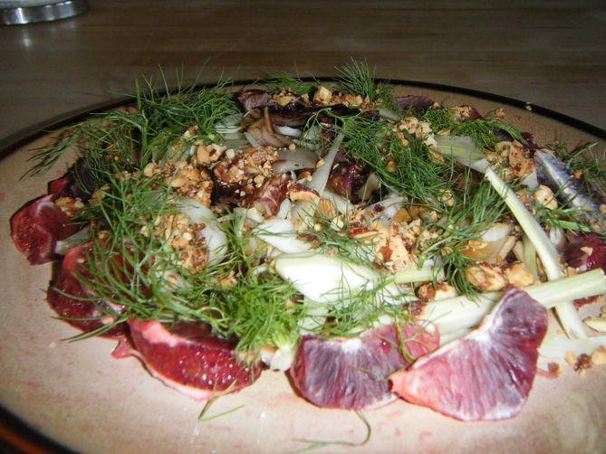 Insalata  di Finocchio con Treviso (fennel salad with radicchio treviso)