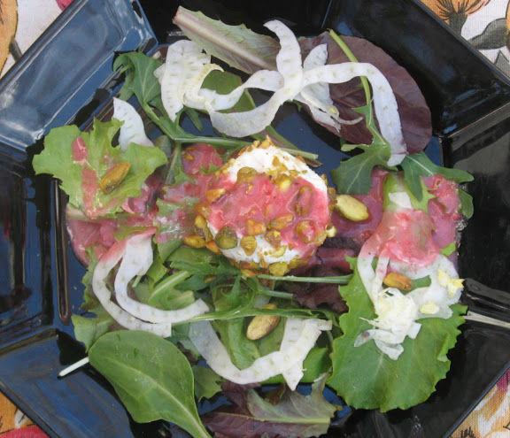 Raspberry Fennel  Vinaigrette over Pistachio Crusted Chevre and Beet Souffle