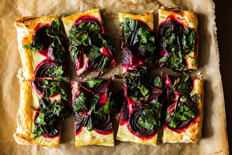 Rustic Beet Tart with Wilted Greens and Puff Pastry on Food52