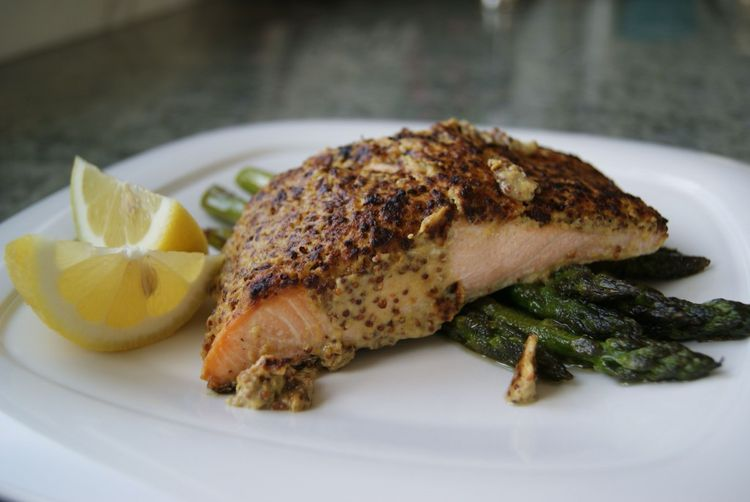 Mustard-Encrusted Broiled Salmon