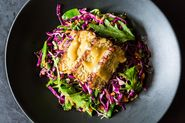 Snow Pea, Cabbage, and Mizuna Salad with Marinated and Seared Tempeh