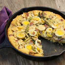 Savory Ham and Swiss Cornbread Bake