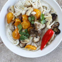 Sauteed Spring Mushrooms, Chiles + Cilantro in Caramelized Coconut Broth
