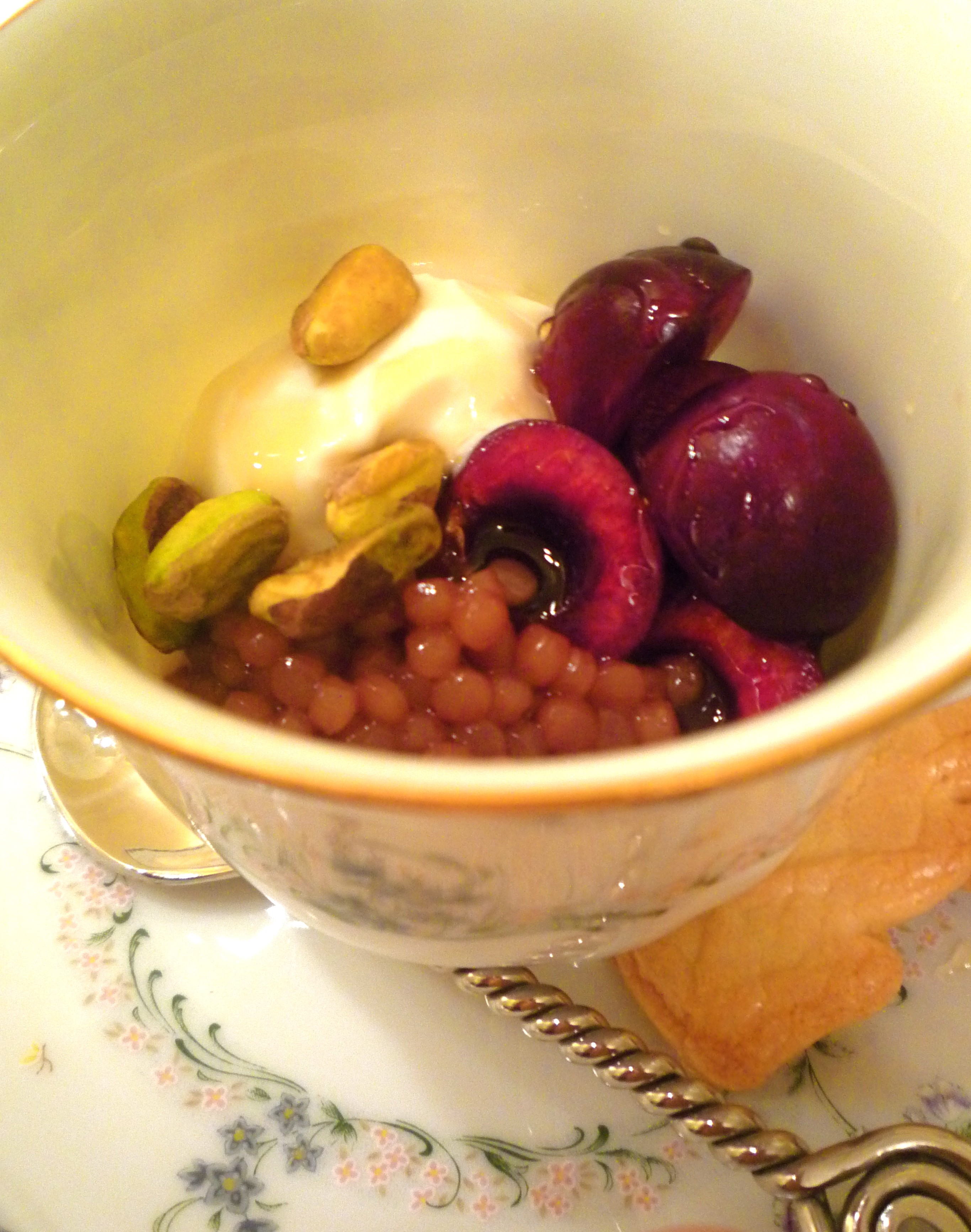 Pomegranate Couscous with Honey Greek Yogurt, Cherries, and Pistachios
