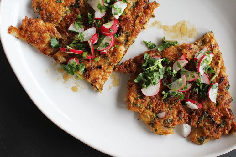 Kimchi, Pork + Scallion Pancake with Watercress-Radish Relish