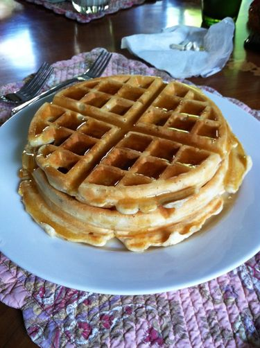 Maple drenched fluffy waffles