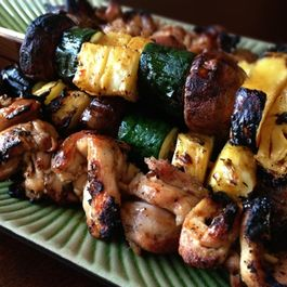 Grilled Coconut Sticky Chicken with Pineapple-Veggie Kabobs