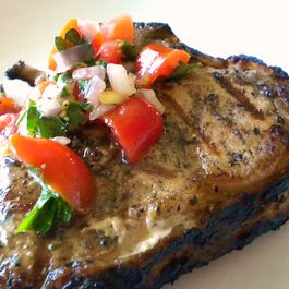 Lemon Grilled Veal Chops with a Fresh Tomato Relish