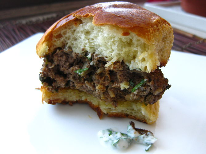 Lamb Burgers with Mint Yogurt Sauce