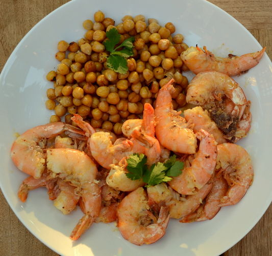 Spiced and Grilled Shrimp and Beans