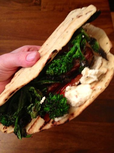 Grilled Italian Flatbread with Sausage, Broccoli Rabe, and Lemon-Chili Ricotta