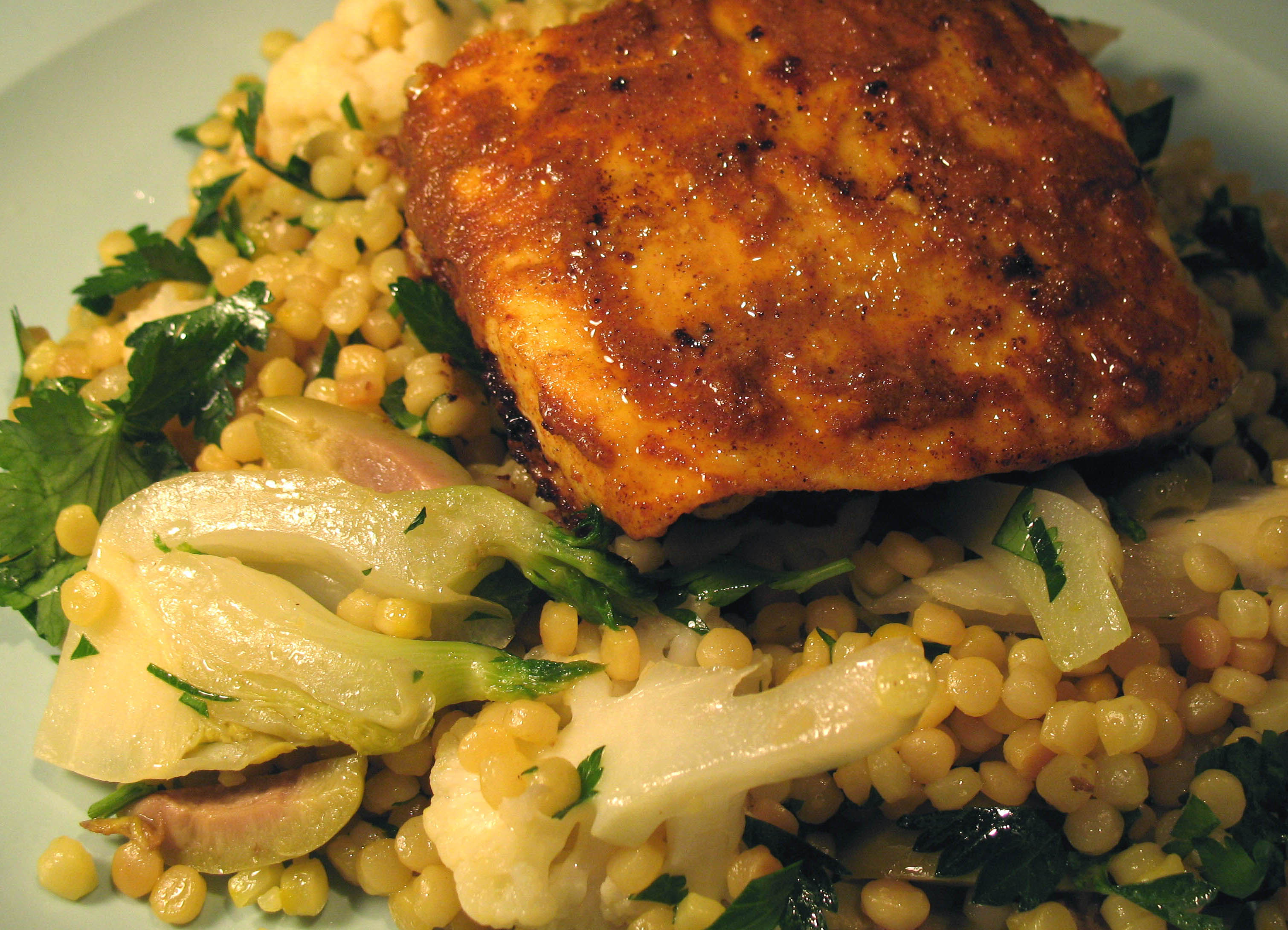 Saffron-scented Vegetable Couscous with North African-spiced Halibut ...