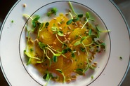 Yellow Beet Carpaccio with Sunflower Sprouts