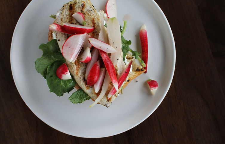 Grilled Chicken Sandwich with Radish Pickles + Greens on Food52