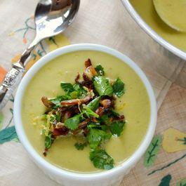 Asparagus Leek Soup with Crispy Mushroom Gremolata
