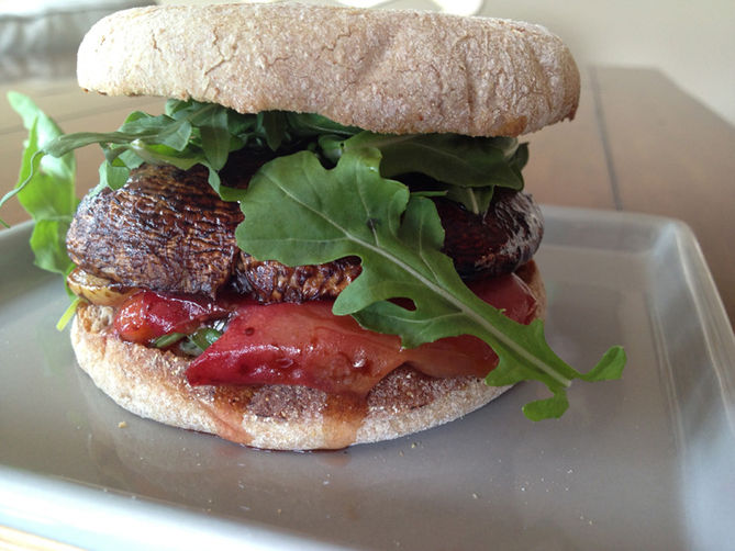 Roasted Portobello and Peach Sandwiches with Basil and ...