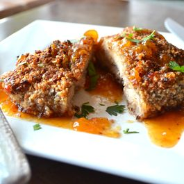 Coconut Pecan Crusted Chicken served with Sweet and Spicy Apricot Sauce
