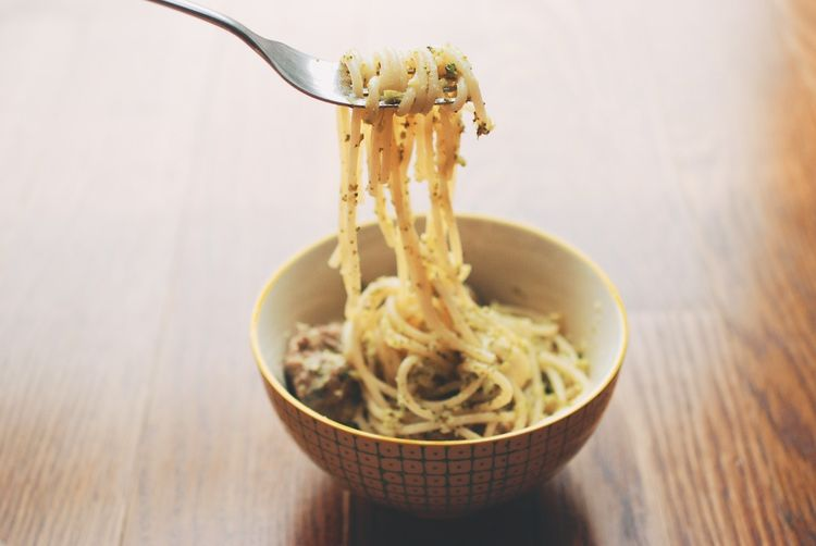 Roasted Broccoli Pesto Spaghetti with Veal-Ricotta Meatballs