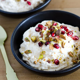 Coconut-Ricotta Mousse with Pistachio and Pomegranate