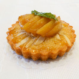Almond Financier with Honey-Mint Poached Pears