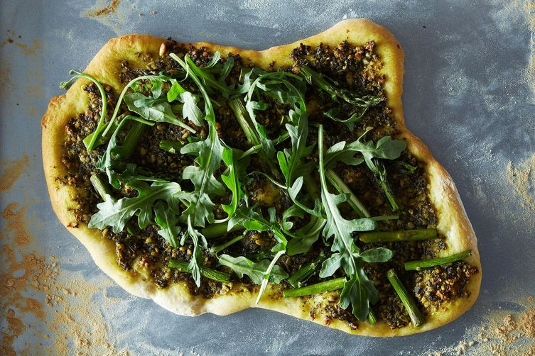 Asparagus Pizza with Vegan Pesto