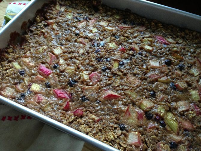 baked multigrains with rhubarb and blueberries
