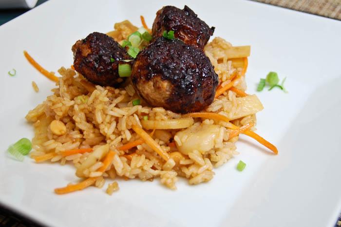 Asian Meatballs w/ Fried Rice