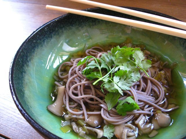 Japanese Soba with Mushroom Broth