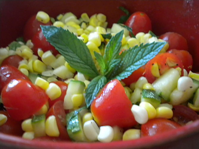 Fresh Corn, Zucchini And Tomato Salad Recipe — Dishmaps
