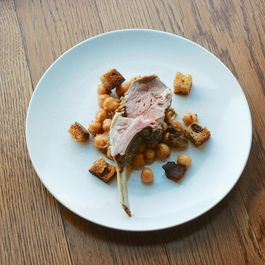 Herb-Crusted Lamb with Marinated Chickpeas and Olive Croutons