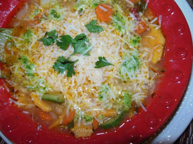 Tuscan Bean Minestrone Soup with Basil Parsley Pesto