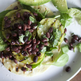 Grilled Green Tomato Tostadas with Black Beans, Avocado + Cilantro