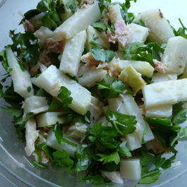 Salad of Grilled Kohlrabi and Smoked Trout